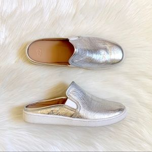 UGG Luci Metallic Silver Leather Sneaker Mules